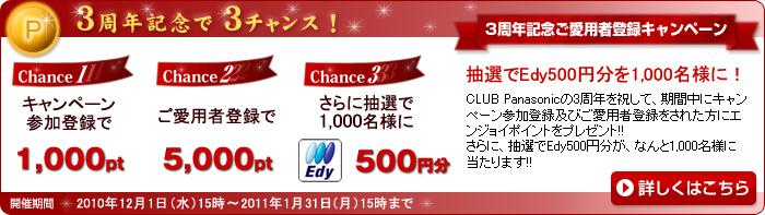 3周年記念 ご愛用者登録キャンペーン 抽選でEdy500円分を1,000名様に!